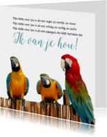 Gedichtenkaarten - Gedichtenkaart met papegaaien