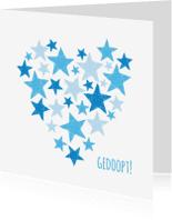 Felicitatiekaarten - Gedoopt blauwe sterren en hart