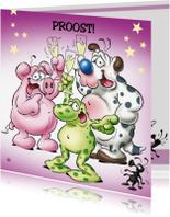 Felicitatiekaarten - gefeliciteerd 5 proostende beesten