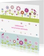Felicitatiekaarten - gefeliciteerd communie bloemen strak