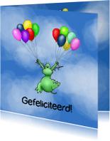 Felicitatiekaarten - Gefeliciteerd - draakje poef ballonnen