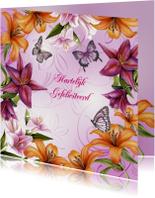 Verjaardagskaarten - Gefeliciteerd met mooie lelies