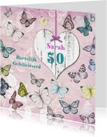 Verjaardagskaarten - Gefeliciteerd Sarah vlinders vintage