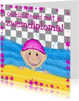 Geslaagd kaarten - gefeliciteerd zwemdiploma meisje