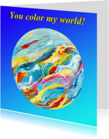 Kunstkaarten - Gekleurde wereldbol