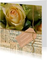 Verjaardagskaarten - Gele roos noten label gouden touw