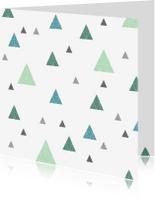 Kerstkaarten - Geometrische kerstbomen patroon groen
