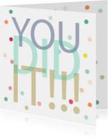 Geslaagd kaarten - Geslaagd kaart met confetti