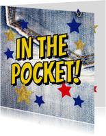 Geslaagd kaart met jeans en sterren