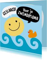 Geslaagd kaarten - Geslaagd kaart zwemdiploma smile