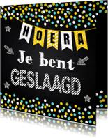 Geslaagd kaarten - Geslaagd school krijtbord slinger confetti