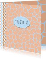 Geslaagd kaarten - Geslaagdkaart giraffeprint