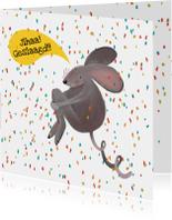 Geslaagd kaarten - Geslaagdkaart van een muis die een gat in de lucht springt