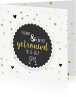 Felicitatiekaarten - Getrouwd datum in zwart/goud