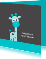 Felicitatiekaarten - Giraf blauw