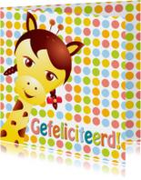 Verjaardagskaarten - giraffemeisje-gefeliciteerd