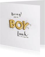 Geboortekaartjes - Gouden letter ballonnen en glitter Boy