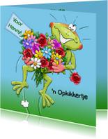 Beterschapskaarten - grappige beterschapskaart opkikker met bos bloemen