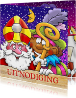 Grappige Sinterklaaskaart uitnodiging voor Sinterklaas avond