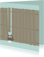 Sterkte kaarten - Grappige sterkte, succeskaart met kat klem tussen schutting