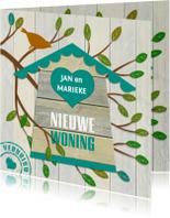 Verhuiskaarten - Grappige verhuiskaart met vogelhuisje op houtprint