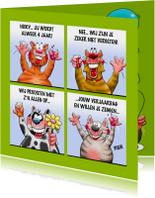 Verjaardagskaarten - Grappige verjaardagskaart met 4 poesjes die juichen