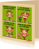 Grappige verjaardagskaart met giraffen als stripverhaal