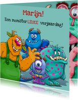 Verjaardagskaarten - Grappige verjaardagskaart monsterLEUK
