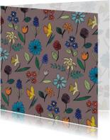 Bloemenkaarten - Grijze aquarel bloemen