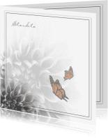 Condoleancekaarten - Grijze bloem en vlinder