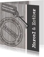 Verhuiskaarten - Grijze houten verhuiskaart