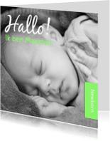 Geboortekaartjes - Hallo ik ben - groen - DH