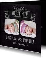 Geboortekaartjes - Hallo tweeling krijtbord-isf