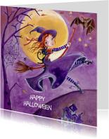 Halloween kaarten - Halloween Feest Heks Illustratie S