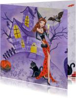 Halloween kaarten - Halloween kaart Heks Vleermuis