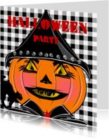 Halloween kaarten - Halloween party ruitjes