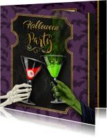 Halloween uitnodiging skelet en heks proosten