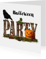Halloweenfeest Jack en zwarte vogel