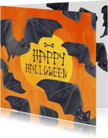 Halloween kaarten - Halloweenkaart vleermuizen