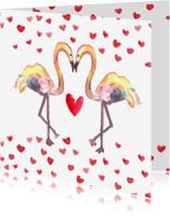 Valentijnskaarten - Handgeschilderde Valentijnskaart met flamingo's