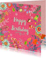 Verjaardagskaarten - Happy Birthday Bloempjes roze