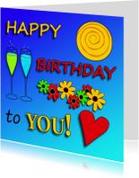 Verjaardagskaarten - happy birthday,  gevulde glazen