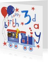 Verjaardagskaarten - Happy Birthday jongen trein