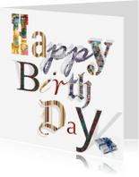 Verjaardagskaarten - Happy birthday met kado