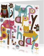 Verjaardagskaarten - Happy Birthday tekst met leuke katten