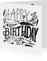 Verjaardagskaarten - Happy Birthday tekst zwart