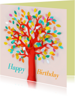 Verjaardagskaarten - Happy Birthday tree