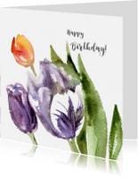 Verjaardagskaarten - Happy Birthday with painted tulips