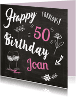 Verjaardagskaarten - Happy fabulous eigen leeftijd