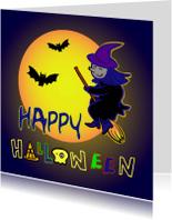 Halloween kaarten - Happy halloween heks kaart -IR